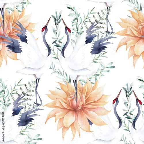 Tapety Japońskie  akwarela-bezszwowe-wzor-z-zurawia-galezi-eukaliptusa-i-dalii-chinski-styl-recznie-rysowane-ilustracja