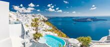 Stunning Summer Vacation Destination. Luxury Travel Holiday In Santorini Island, Greece. Amazing Sea View Over Caldera, White Architecture Famous Oia. Hotel Resort Romantic Couple Tourism Landscape
