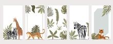 Safari Background For Social Media With Giraffe,leopard;zebra