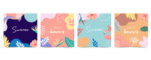 Collection Of Summer Background Set With Palm,coconut Tree,sea,beach.Editable Vector Illustration For Invitation,postcard And Website Banner.Hello Summer