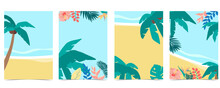 Collection Of Summer Background Set With Palm,coconut Tree,sea,beach.Editable Vector Illustration For Invitation,postcard And Website Banner