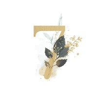 Number 7 With Watercolor Leaves And Twigs |Digit 7  Decorated With Watercolor And Leaves