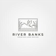 Vector Of Goose In River Plant Logo Design, Line Art Flying Swan Logo Design