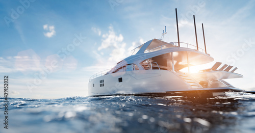 Catamaran motor yacht on the ocean Fototapeta