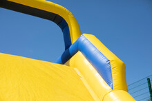 Inflatable Obstacle Course For Fun. Inflatable Structure In The Park.