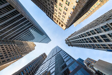 Modern Skyscraper Buildings In Manhattan, New York City, USA