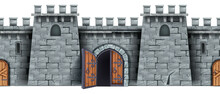 Castle Stone Wall, Seamless Medieval Game Background, Opened Wooden City Gate, Old Door, Loopholes. Brick Fortress Illustration, Town Entrance Fortification Isolated Clipart. Ancient Gray Castle Wall