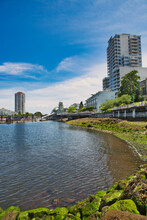 A Beautiful View Of Skyline At The Waterfront Linking Park To Nanaimo Downtown Area.