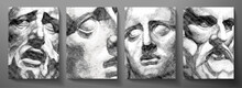 Engraved Antique Face - Poster. Vector Line Pattern (guilloche) Of Ancient Greek Portrait (closeup Man Head). Digital Graphic For Cover, Historic Artwork, Currency, Money Design, Picture