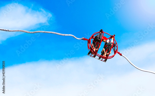 Fotografia, Obraz Extreme slingshot ride attraction in the city park