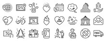 Set Of Holidays Icons, Such As Be Mine, Free Delivery, Fireworks Icons. World Travel, Discount Coupon, Market Signs. Surprise Boxes, Puzzle, Love Letter. Ice Cream, No Puzzle, Circus Tent. Vector