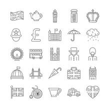 Set Of London, England And UK Icons Thin Line Icons