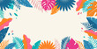 Hello Summer concept design, summer panorama, abstract illustration with jungle exotic leaves, colorful design, summer background and banner