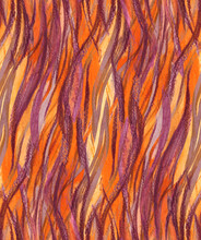 Stylized Animalistic Tiger Pattern In Orange Shades Associated With Flames