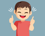 Young little boy happy making thumbs up positive hand gesture expression