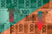 Brazil Money - Green And Yellow Colors, Stock Exchange And National Banknotes