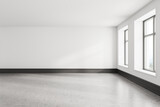 Empty white room interior with gray floor and two windows