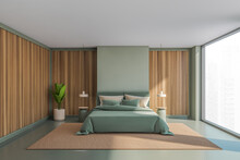Wooden And Olive Panoramic Master Bedroom Interior