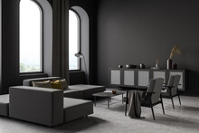Dark Living Room Interior With Armchair And Sofa, Drawer And Arched Windows