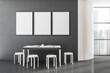 Leinwandbild Motiv White wooden and gray panoramic dining room interior, three posters