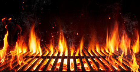 Barbecue Grill With Fire Flames - Empty Fire Grid On Black Background