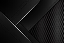 Abstract Metal Carbon Texture Modern And Edge Lines Chromium On Black Metallic Sheet Hole Modern. Design Futuristic Technology Background. Vector Illustration