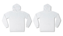 Set Of White Pullover Hoodie Isolated On White Background With Clipping Path.