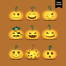 Set Of Pumpkins Yellow Glowing Cute Cartoon Icons. Collection Of Pumpkin Jack 'o Lanterns. Character Face Expression. Composition For Decorative Halloween Day. Vector Illustration.