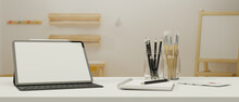 Digital Tablet With Mock-up Screen And Keyboard On Study Table In Living Room, 3D Rendering