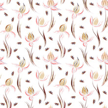 Floral Seamless Pattern Of Irises And Dandelion Seeds. Irises Painted Imitation Of Oil Paint. Creative Execution Of Floral Ornament. Brown Pink Flowers On A White Background.