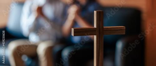 Fotografie, Obraz Close up cross is blur background