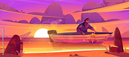 Fotografie, Obraz Shipwrecked sad man sit in wooden boat at sunset scenery landscape