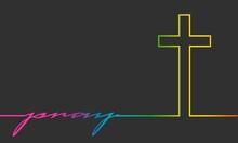 Religion Concept Illustration. Gradient Paint Thin Line