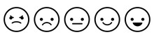 Set Of Black Outline Emoticons. Five Facial Expression From Positive To Negative. Vector Illustration Isolated On White Background
