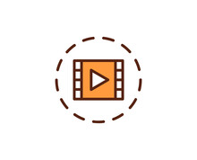 Multimedia Flat Icon. Thin Line Signs For Design Logo, Visit Card, Etc. Single High-quality Outline Symbol For Web Design Or Mobile App. Sign Outline Pictogram.