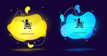 Black Shopping Cart And Food Icon Isolated On Black Background. Food Store, Supermarket. Abstract Banner With Liquid Shapes. Vector Illustration