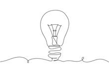 Continuous One Line Of Light Bulb In Silhouette On A White Background. Linear Stylized.Minimalist.