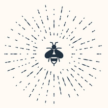 Grey Bee Icon Isolated On Beige Background. Sweet Natural Food. Honeybee Or Apis With Wings Symbol. Flying Insect. Abstract Circle Random Dots. Vector
