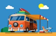 Campervan On Summer Beach Holiday Concept In Cartoon Illustration Vector