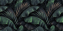 Neon Bright Banana Leaves, Palms On Dark Background. Seamless Pattern. Vintage Tropical 3d Illustration. Luxury Modern Wallpapers, Fabric Printing, Cloth, Tapestries, Posters, Invintations, Cards