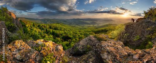 Fotografie, Obraz Mountain dramatic sunset panorama in peak Zarnov, Vtacnik, Horna Nitra