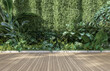 Leinwandbild Motiv Empty wooden terrace with green wall 3d render,There are wood plank floor with tropical style tree garden background sunlight shine on the tree