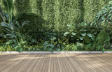 Empty wooden terrace with green wall 3d render,There are wood plank floor with tropical style tree garden background sunlight shine on the tree