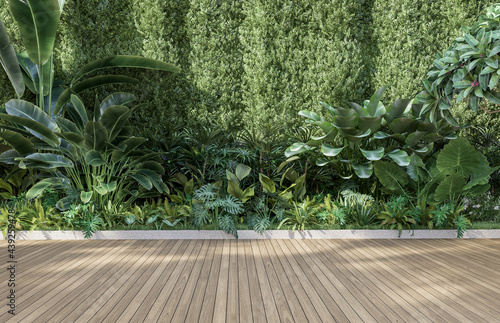 Foto Empty wooden terrace with green wall 3d render,There are wood plank floor with t