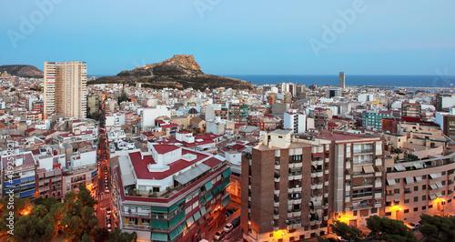 Obraz na plátně Spain - Alicante is Mediterranean City, skyline at night