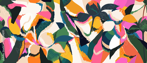 Hand drawn floral abstract print. Creative collage seamless pattern. Fashionable template for design.