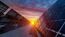 Low Angle View Of The Sunset Through The Solar Panels Under Red Clouds 3D Rendering