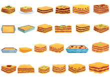Lasagna Icons Set. Cartoon Set Of Lasagna Vector Icons For Web Design
