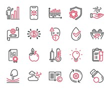 Vector Set Of Science Icons Related To Cogwheel, Certificate Diploma And Thermometer Icons. Elastic, Diagram Chart And Copyright Signs. Graph Chart, Medical Mask And Eco Food. Fair Trade. Vector