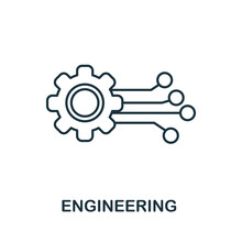 Engineering Line Icon. Creative Outline Design From Artificial Intelligence Icons Collection. Thin Engineering Icon For Infographics And Banner